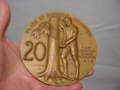 Lg Brass Coin 20 Years Friendly Relations Goodyear Rubber Plantation 1916 Figure
