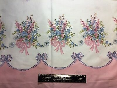 Vintage Cotton Fabric 40s PRETTY Pink Bouquets Border Pillowcase Print 35w 1yd