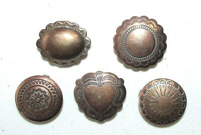 Lot of 5 Different Vintage Native American Navajo Sterling Silver Button Covers