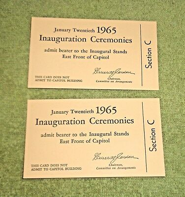 2 Admission Tickets 1965 Inauguration Ceremonies Lyndon Johnson Hubert Humphrey