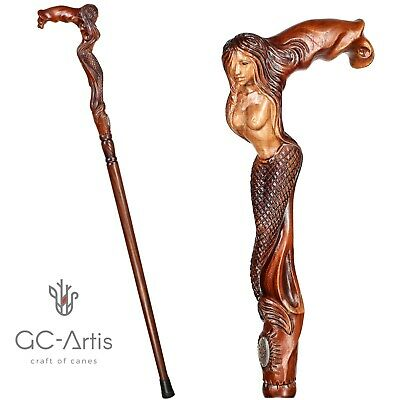 Hand carved Walking Stick Cane Mermaid D Siren Wooden art hand crafted for men