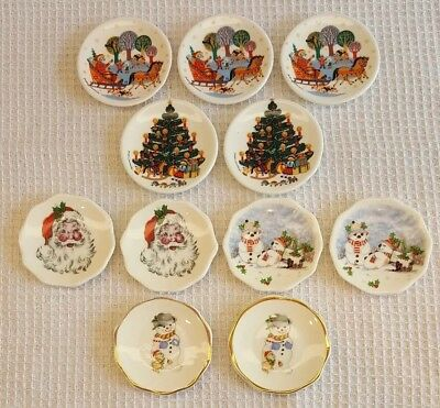Christmas Miniature Plates Bone China England Butter Pats Dollhouse SET OF 11