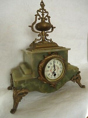 Antique French Green Marble / Oynx Bronze Clock Case. Spares Or Repair