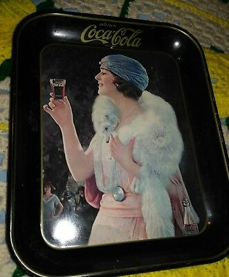 Vintage Coca Cola tray 1925 advertising serving tray of a flapper girl 13x10 1/2
