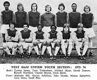 West Ham United Youth Team Football Photo>1973-74 Season