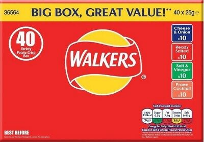 Walkers Crisps Variety Box - 40x 25g Packs - Classic Flavours UK Savoury Snacks