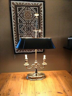 Wonderful French Solid Brass Bouillotte Desk Table Lamp Tole shade Vintage VGC