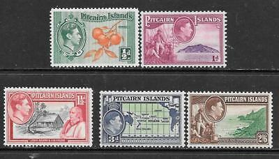 PITCAIRN Is - 1940.  KG VI Pictorial Defins - 5 x MH - Various to 2/6d.  Cat £22