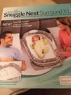 Baby Delight Snuggle Nest Surround XL Incline Portable Infant Sleeping Bed Gray