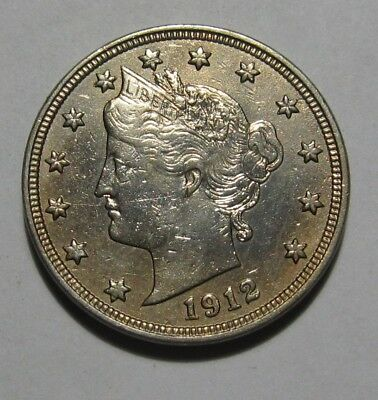 1912 Liberty Nickel - AU Condition / Obverse Cleaned - 172SA
