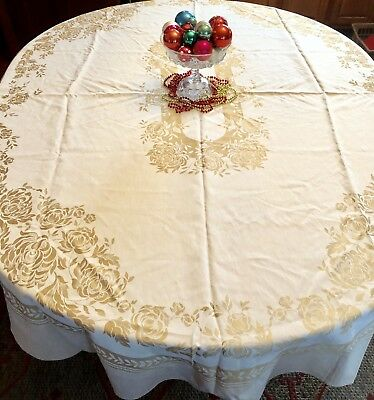 """Vintage Beige and Gold Embossed Oval Holiday Tablecloth 60"""" x 80"""" Christmas"""