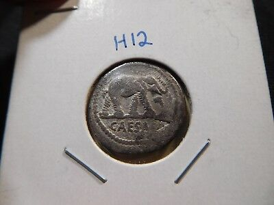 H12 Roman Republic Julius Caesar 44 BC AR Denarius Elephant over Serpent RSC-49
