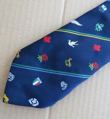 RUGBY  UNION  <>  WORLD  CUP  <>  SUPERB  NECK  TIE  <>  Worn  Once