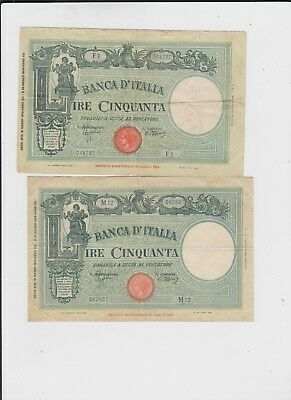 Italy Paper Money  two old notes vf