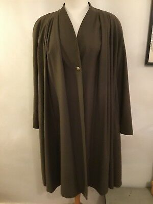 1940's WWII Vintage Style Swing Coat Size 14 16 Green