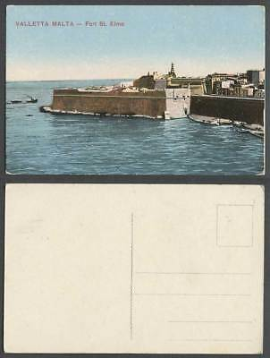 Malta Old Colour Postcard VALLETTA FORT ST. ELMO Fortress Boats Harbour Panorama