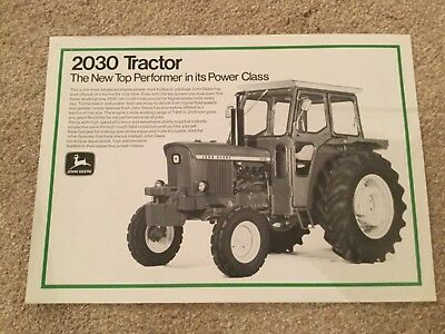 JOHN DEERE 2030 TRACTOR BROCHURE SALES LEAFLET 70s RARE CAB VERSION FARM MODEL