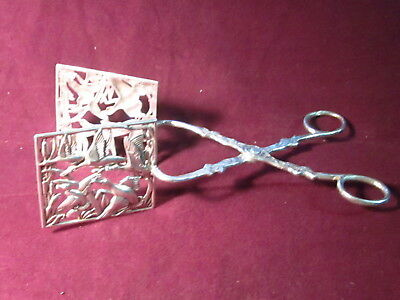 "Custom made Sterling Geese motif Toast/bread SERVER 8"" 120g no mono"