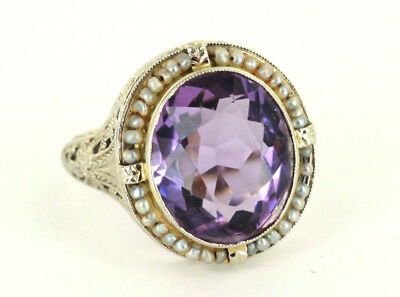Antique Deco Stunning 14k Wh Gold Filigree 6.75 ct Amethyst Seed Pearl Ring 7.5