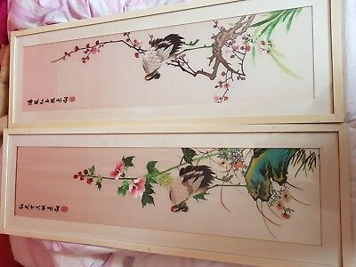 Fine Pair Of Antique Hand Sewn Chinese Embroidery Silk Panels Robe Sleeves
