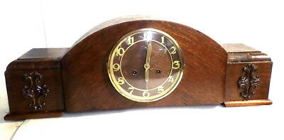 Huge German Oak Striking Mantle Clock 26 x 10 Inches With Case Applications