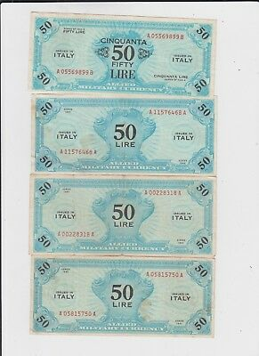 Italy Paper Money  four old notes f-vf