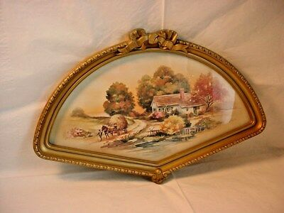 Vtg Homco Fan Shaped Frame with Rustic Scene 16 inch