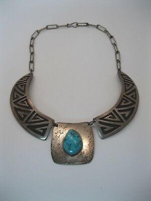 Lot 145 - Vintage Charlie Singer Navajo Silver Overlay & Turquoise Necklace