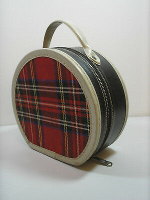 Vintage 1950s Round Doll Clothes Travel Suitcase Hat Box Luggage Red Plaid 8""