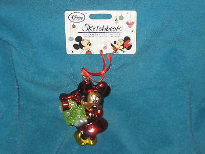 Minnie Mouse Sketchbook Disney Store Glass Ornament. Brand New. Year of 2014.