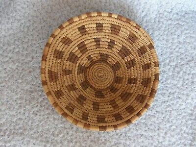 Vintage Papago Indian Native American Woven Coiled Geometric/Checker Basket