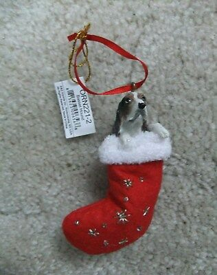 Basset Hound Dog In Stocking Christmas Ornament Santa's Little Pets New