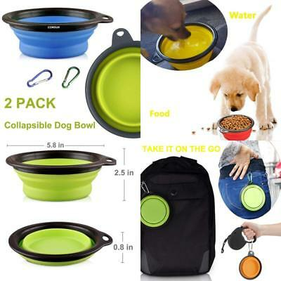Comsun 2-Pack Large Collapsible Dog Bowl, Foldable Expandable Cup Dish For Pet C