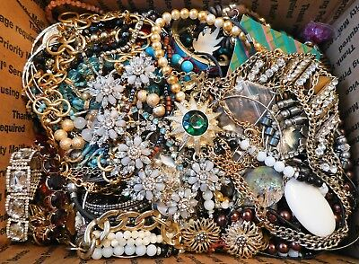 Large 11.5-Lb Lot Of Vintage & Modern Jewelry: Earrings, Necklaces, Rhinestones+