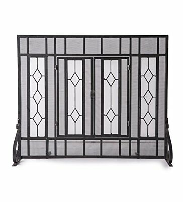 Large Diamond Fireplace Screen with Hinged Doors, Beveled Tempered Glass Panels
