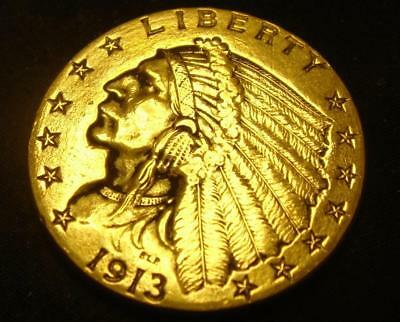 1913 $2 1/2 Indian Head Gold Coin Quarter Eagle Rare!