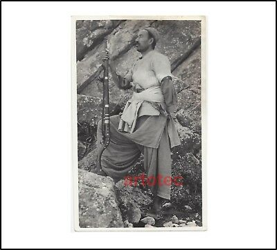 Vintage photo original Afghan warrior w rifle jezail LOOK early 20th century