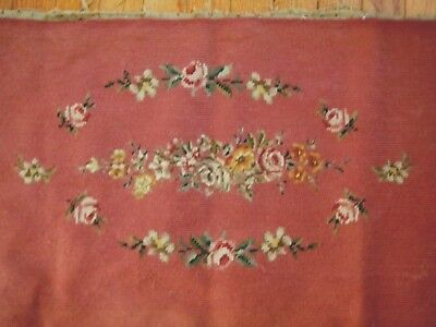 Antique Panel wool Needlepoint & petitpoint Tapestry HB done flowers  roses
