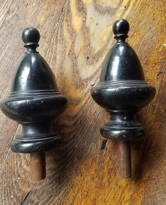Pair finials antique black finish ornate wooden 5""