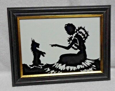 Scotty Scottie Dog And Girl  Black Glass Silhouette In Frame