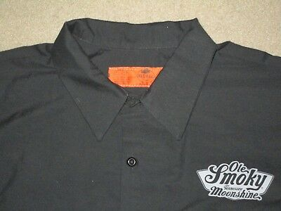 Ole Smoky Tennessee Moonshine Men's Button Work Shirt Black 3Xl Used Poly Cotton