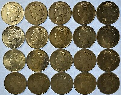 Lot of 20 Collectible Silver Peace Dollars  (b460.78)
