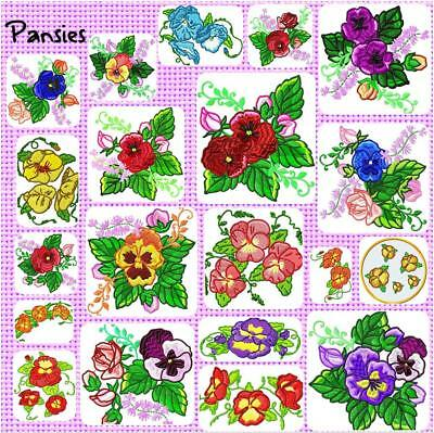 PANSIES   # 20#   MACHINE EMBROIDERY DESIGNS CD 2 SIZES 2 sets