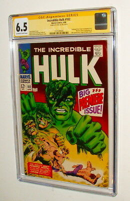 1968 The Incredible Hulk #102 Comic Book Signed By Stan Lee Cgc Graded 6.5