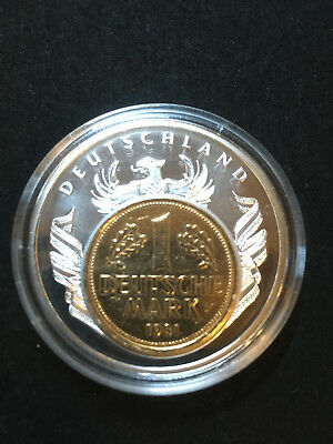 Medaille European Currencies Deutschland Inlay 1 Mark 1981 in Kapsel Top Zustand