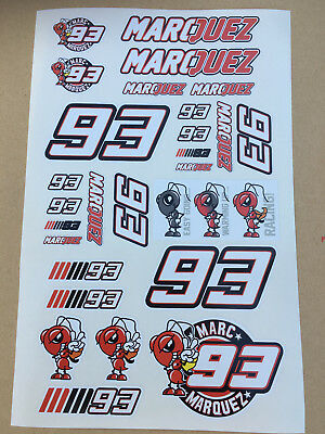 93 Marc Marquez Stickers set sheet of 27 stickers Motorcycle GP size 225 x 130mm
