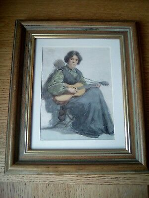 Fine reframed Edwardian painting of a young lady seated with her guitar.