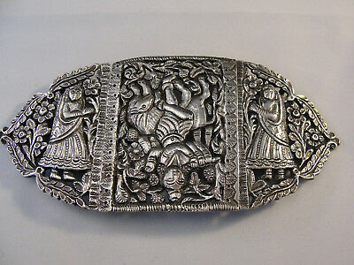 Fine Indian White Metal MARRIAGE BELT BUCKLE c1900