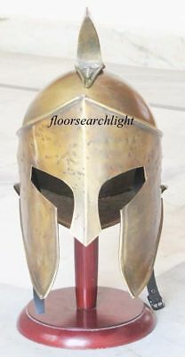 Brass ANTIQUE King Leonidas Spartan Knight 300 Movie Armor helmet1 q#3
