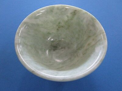 Finely Carved Chinese Spinach  Pale Green Jade Bowl
